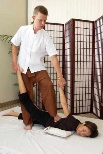 half Locust pose- thai massage